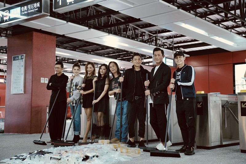 《 掃毒2 》劇組在新打造的地鐵站場景把地上毒品垃圾清除,象徵掃毒行動正式開啟。