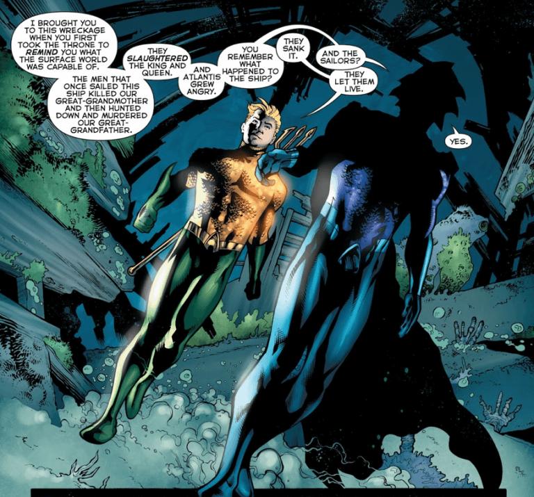 《水行俠》漫畫中,亞瑟來到水中世界找歐姆議論的畫面。