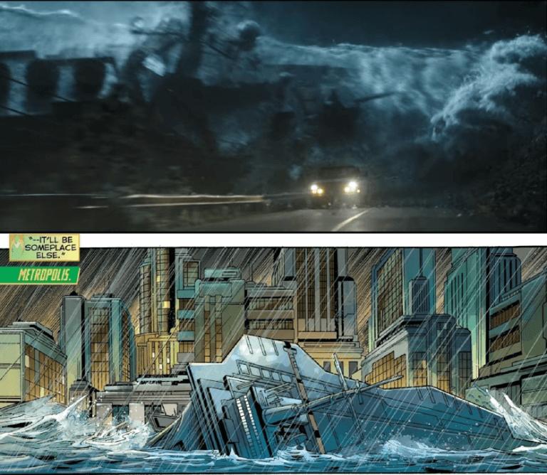 無論原作漫畫或是電影預告,《水行俠》故事中皆有因海嘯引發船隻擱淺的畫面。