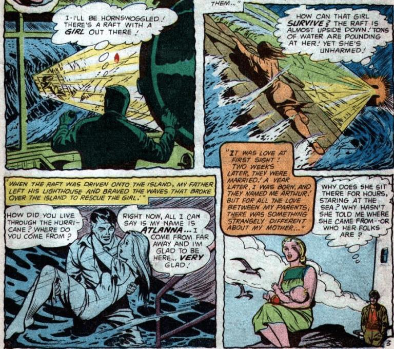 漫畫 AdventureComics (1938) Issue #260 中,水行俠生母:亞特蘭娜與人類男子相識相戀的過程。