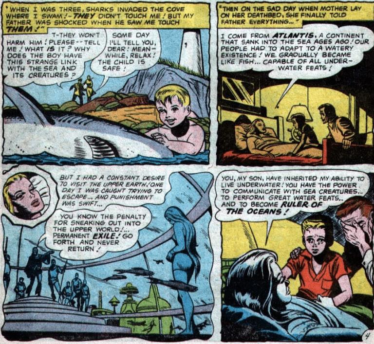 漫畫中的亞瑟與父親湯瑪士,直到亞特蘭娜臨終前才知道《水行俠》亞特蘭提斯的相關事情。