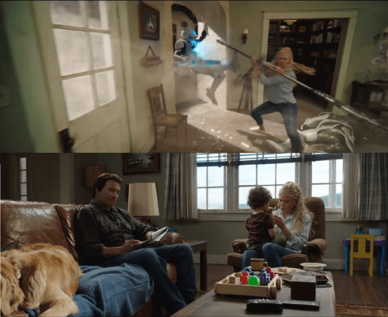 電影《水行俠》預告中,亞特蘭娜在住家遭受不明襲擊,那時的亞瑟只是個小男娃。