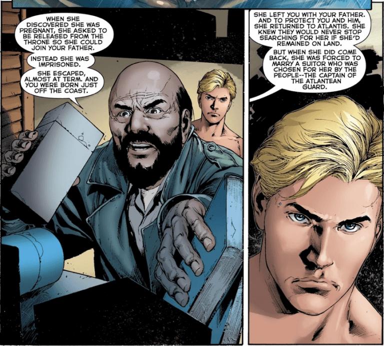 《水行俠》漫畫中,亞瑟直到成年後才得知自己生母的消息。