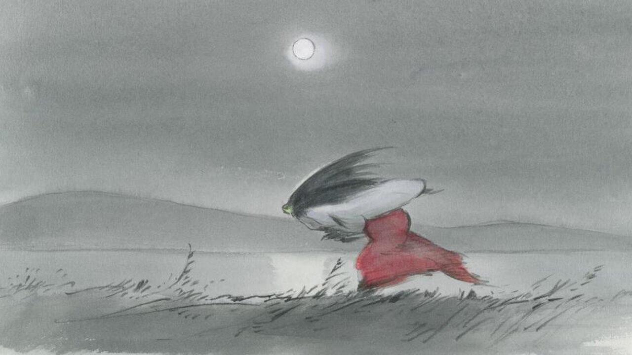 吉卜力動畫電影《輝耀姬物語》場景:輝夜姬衝出豪邸。