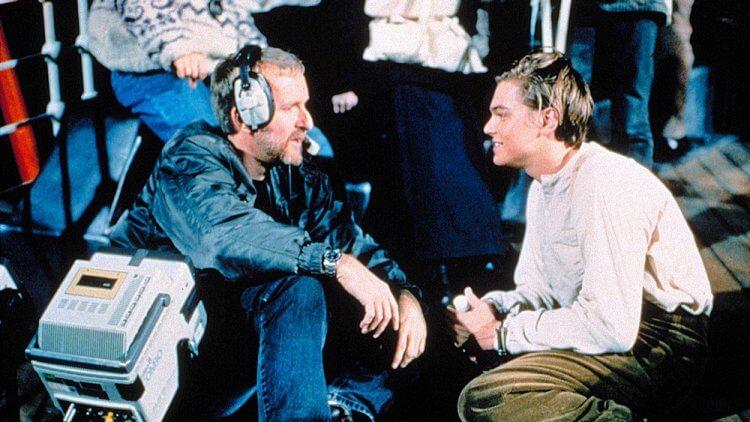 《鐵達尼號》詹姆斯卡麥隆(左)與李奧納多狄卡皮歐。
