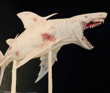 原本 楊迪邦 版《 巨齒鯊 》打算按小說設定讓巨齒鯊出現螢光與白化現象。