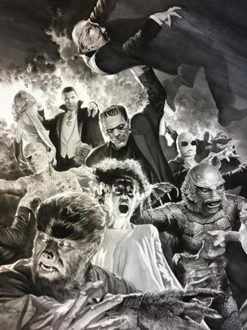 亞歷斯羅斯 (Alex Ross) 為 環球影業 旗下的電影怪物明星們繪製的精美海報。