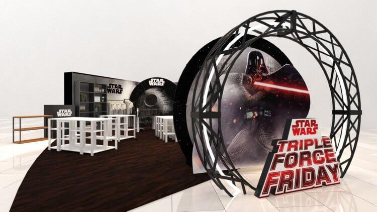 星戰系列最新電影即將上映,【星際大戰FORCE-FRIDAY】期間限定主題周邊即將推出,大直美麗華快閃店示意圖。