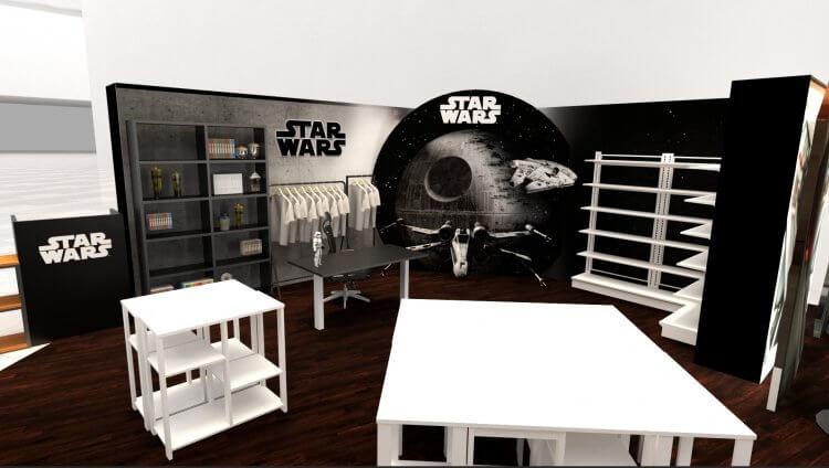 以死星、千年鷹號、X 戰機、機艙內部場景等星戰電影元素設計的【星際大戰 FORCE-FRIDAY】期間限定店示意圖。
