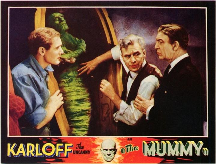 《 木乃伊 》海報,喬瑟夫博士 (右)、穆勒博士 (中)、菜鳥就是該死的諾頓 (左)。