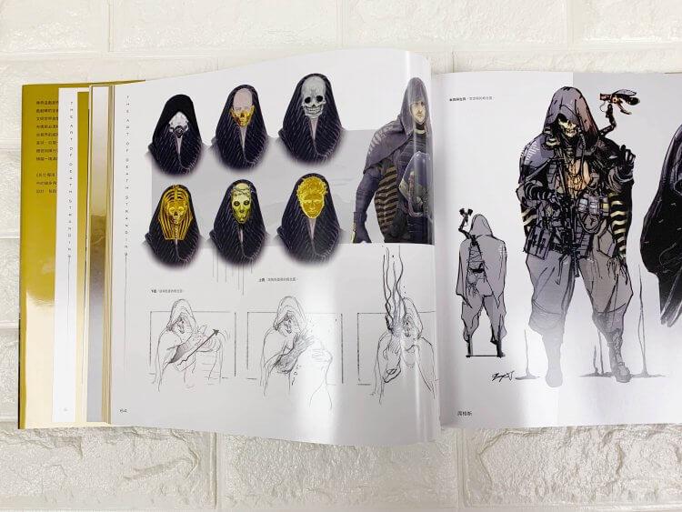死亡擱淺-美術設定集-人氣反派-席格斯-的面罩與過場動畫演進概念圖