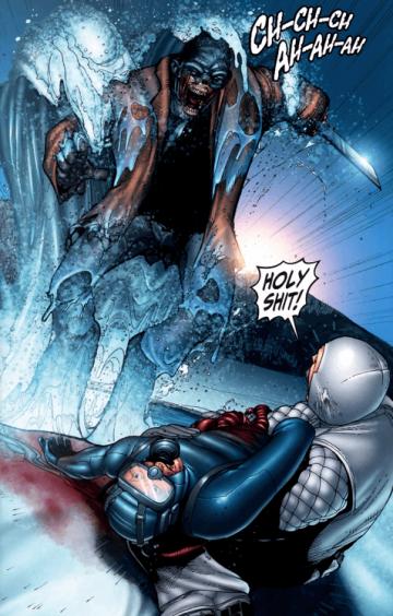 傑夫卡茲編劇的漫畫《佛萊迪 vs. 傑森 vs. 艾許:惡夢戰士》畫面,水晶湖畔又現恐怖人影。