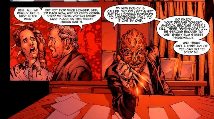 傑夫卡茲編劇的漫畫《佛萊迪 vs. 傑森 vs. 艾許:惡夢戰士》中,佛萊迪有著大膽的想法,掌控神奇的力量並想殺害全世界的孩童。