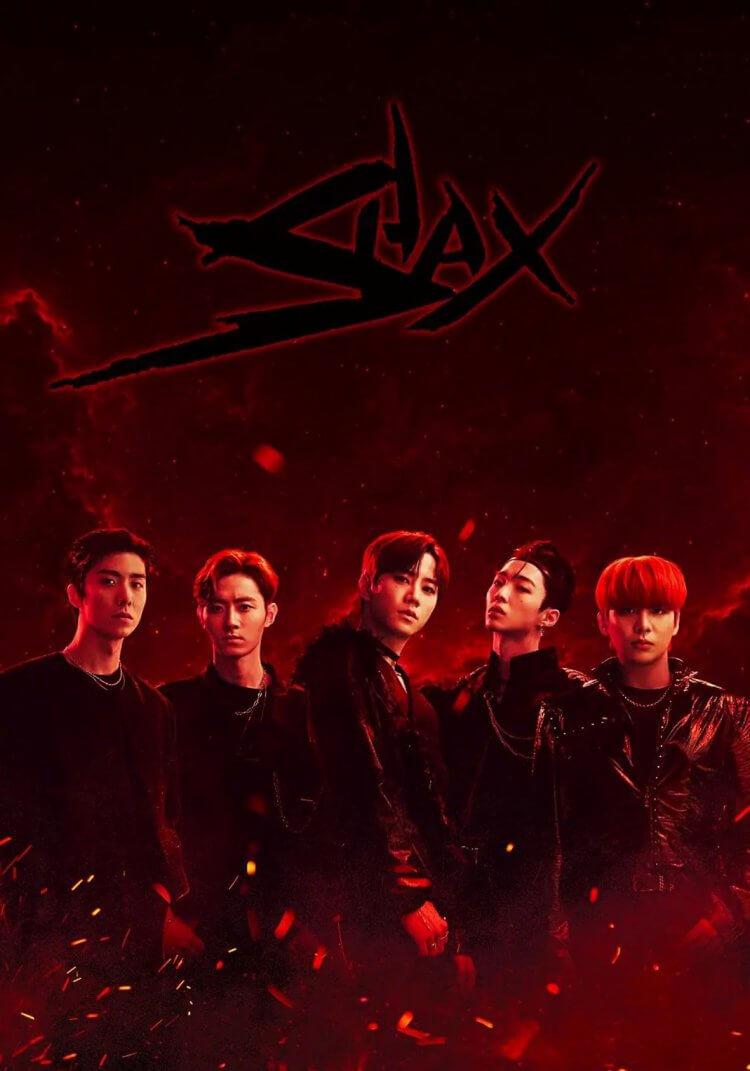 劇組特製的劇中偶像團體宣傳海報「SHAX」款