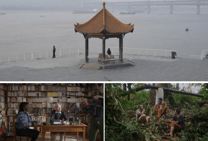 台北電影節選映佳片:上:朱聲仄《河流,奔跑著,倒映著》、左下:法國紀錄片《當我們成為風景》及右下:印尼《古老的靈魂》硫磺礦工。