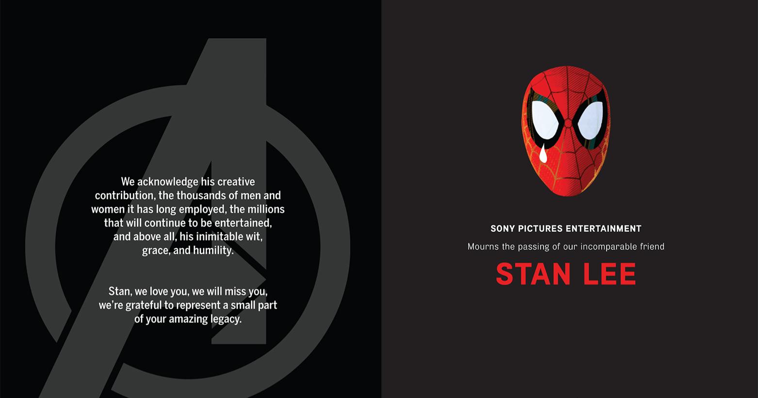 紀念史丹李  初代復仇者聯盟英雄們及各大影業  刊登全版紀念廣告首圖