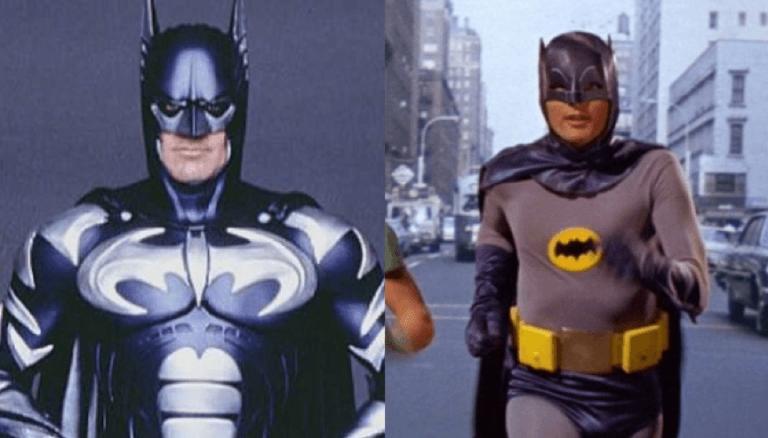 左:喬治克隆尼版《蝙蝠俠 4:急凍人》蝙蝠俠、右:亞當威斯特影集版蝙蝠俠。