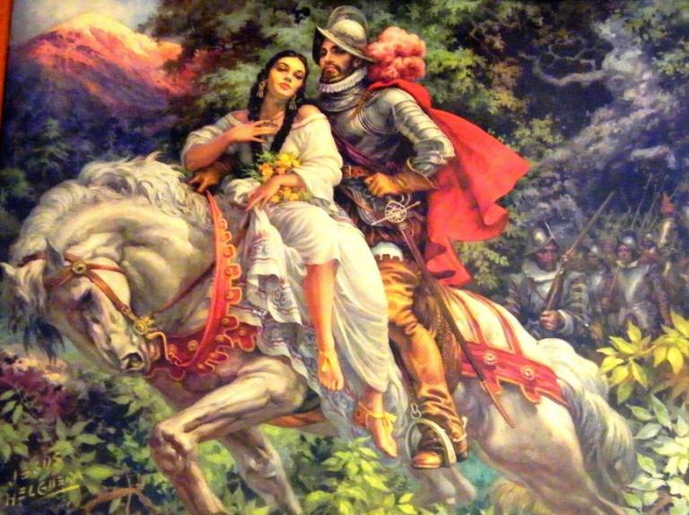 瑪琳切與征服者柯爾特斯的畫像,據傳瑪琳切是後來《哭泣的女人》憂羅娜傳說的原型人物。