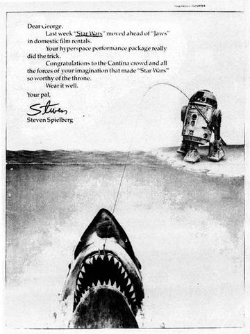 史蒂芬史匹柏祝賀《星際大戰》成績超越《大白鯊》的廣告