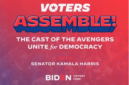 《復仇者聯盟》成員因美國大選將出席候選人拜登的線上募款活動。