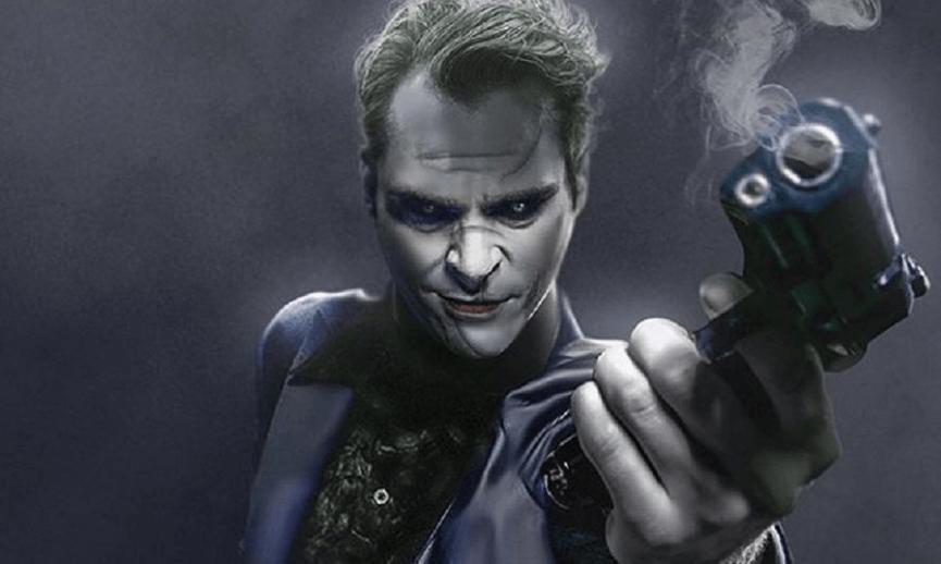 網友製作的 瓦昆菲尼克斯斯 版《 小丑 》劇照。