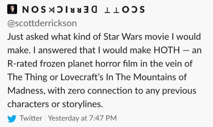 史考特德瑞森回覆有關製作《星際大戰》問題。