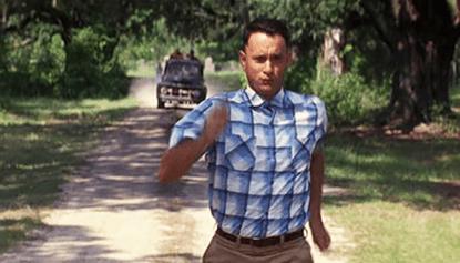 湯姆漢克斯電影《阿甘正傳》劇照。