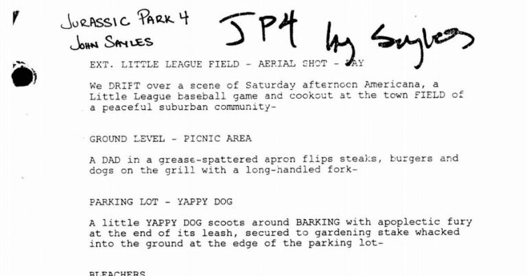 約翰賽爾斯曾撰寫的《侏羅紀公園 4》劇本──但它最後並未被拍成電影上映。