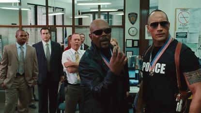 亞當麥凱導演的喜劇電影《B 咖戰警》可以看到山繆傑克森與巨石強森來客串。
