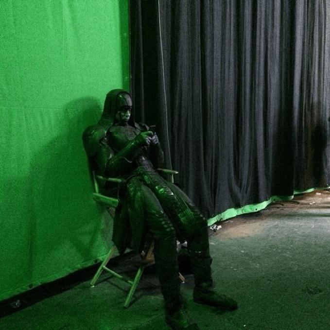 李培斯在電影《星際異攻隊》拍攝現場。