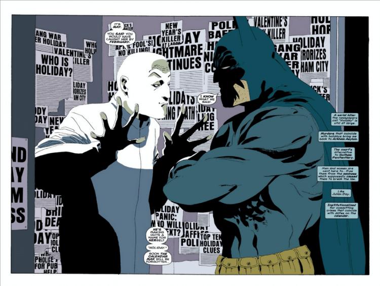 麥特李維斯編導,羅伯派汀森主演的《蝙蝠俠》電影,很可能改編自漫畫《漫長萬聖節》篇章,圖為反派日曆人。