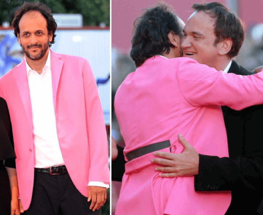 達戈尼諾 (粉紅西裝) 與 昆汀 是 67 屆威尼斯影展的評審團同事。