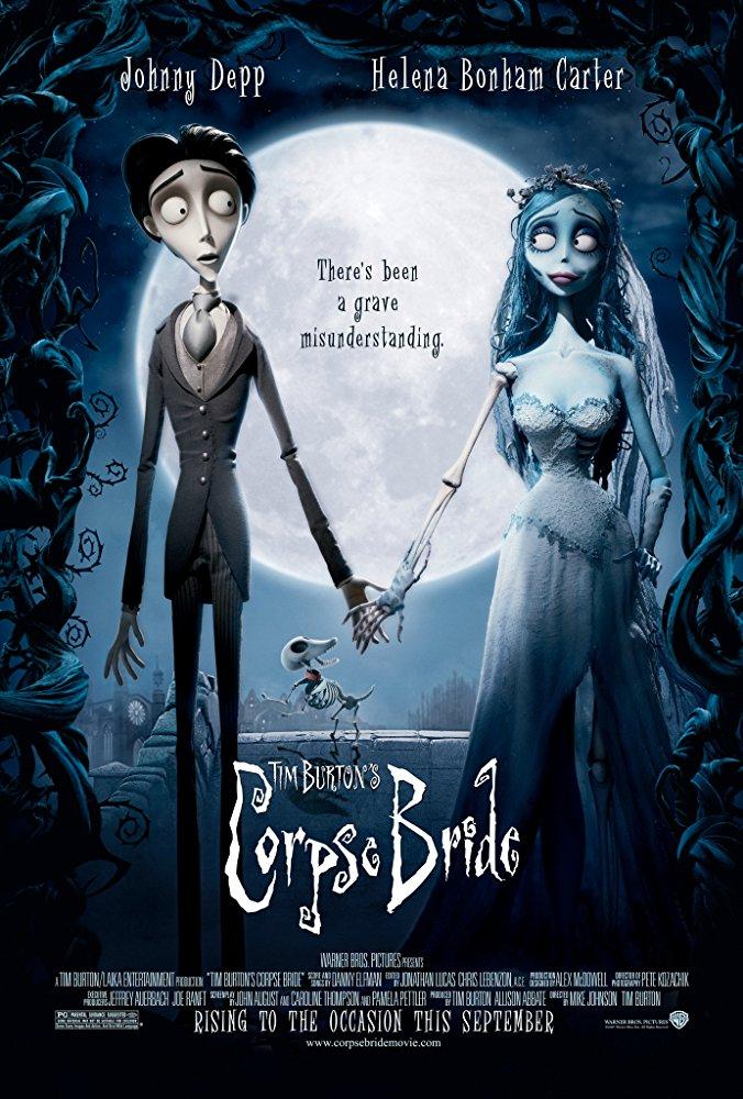 鬼才導演 提姆波頓 所執導製作的 定格動畫 電影 《 地獄新娘 》海報。