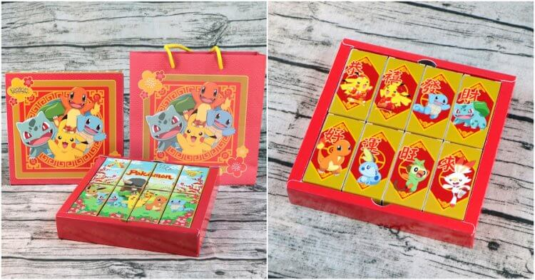 「好運旺旺來」禮盒及提袋充滿新年喜氣,背面可看到結合春聯意象的寶可夢。