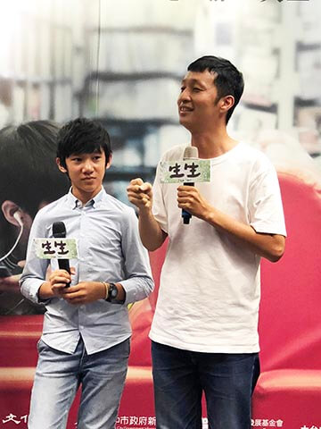 《 生生 》台中記者會,導演 安邦 及小童星 吳至璿 。