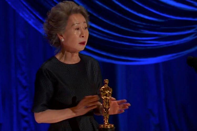 尹汝貞在奧斯卡頒獎典禮發表得獎感言
