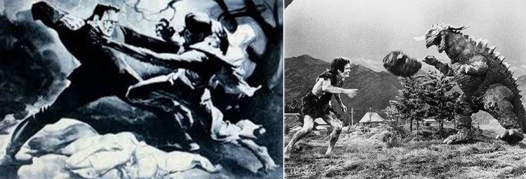 環球的《科學怪人大戰狼人》(1943)與東寶的《科學怪人對地底怪獸》(1965)