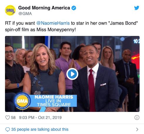 影星娜歐蜜哈瑞斯日前在節目《早安美國》(Good Morning America) 上提到她所飾演的曼妮潘妮有機會主演 007 外傳電影。