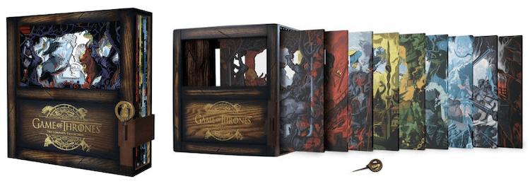《冰與火之歌:權力遊戲》全套豪華藍光典藏版不僅完整收納了整季影集及豐富的幕後花絮之外,精緻的外盒設計也格外吸引人收藏。