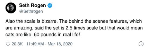 喜劇演員 賽斯羅根 (Seth Rogen) 在推特上分享他對《貓 CATS》的一些想法。