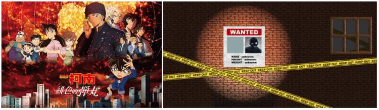 以柯南電影 M24 主視覺圖與大家熟悉的黑衣人兇手設計的主題牆,在高雄展場供粉絲拍照。