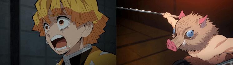 動畫影集《鬼滅之刃》中,與主角炭治郎同屬鬼殺隊隊員的善逸與伊之助。