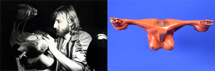 (左) 為在科曼片場的 卡麥隆 ,(右)是他設計的太空戰鬥機「尼爾」。