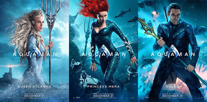 將於年底上映的《水行俠》公開主要角色們的個人海報。