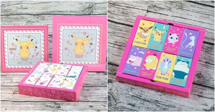 「甜點甜甜」禮盒及提袋以夢幻粉色吸引目光,背面能看到可愛的寶可夢粉系撞色設計。
