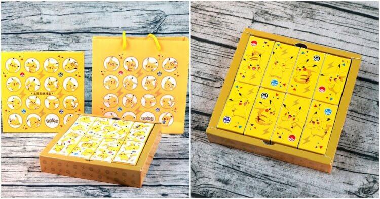 「皮卡皮卡」禮盒及提袋給你滿滿的皮卡丘電力,背面也看能看見可愛的皮卡丘。