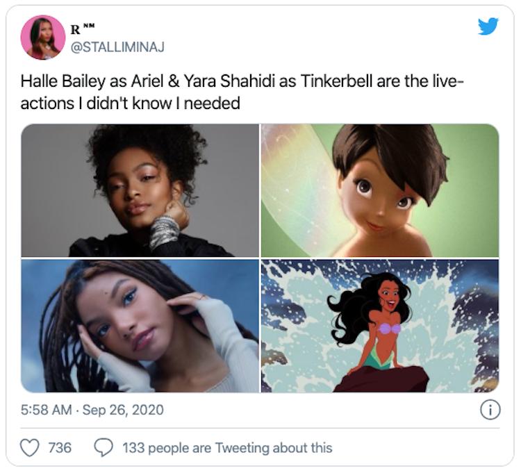 粉絲創作:由雅拉莎希迪與荷莉貝利分別飾演的真人版奇妙仙子與艾莉兒示意圖。