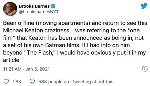 紐時作者推特發文解釋有關「班蝙」離開後,DCEU 的蝙蝠俠將會是「米高基蝙」報導一事。