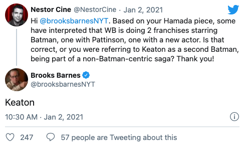 紐時作者推特發文證實,「班蝙」離開後,DCEU-的蝙蝠俠將會是「米高基蝙」
