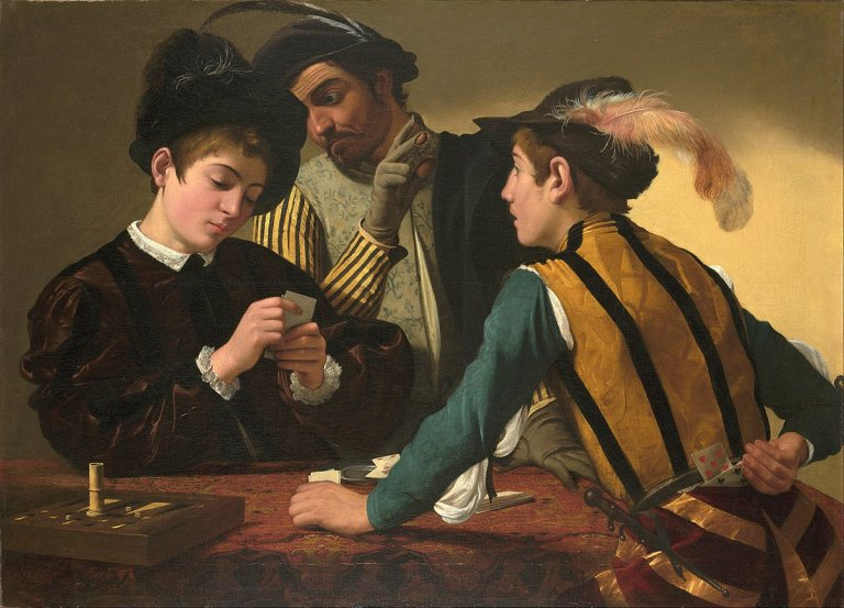 曾因鑑定不當,被蘇富比拍賣會賤價出售的卡拉瓦喬早期畫作《老千》。